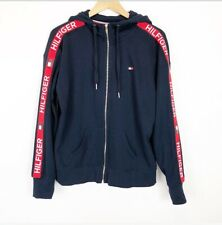 Tommy Hilfiger Sport Womens Size Large Navy Blue Red Spellout Logo Zip Jacket