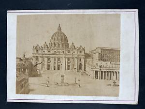 Italie, Rome, église San Pierre Vintage print. Carte cabinet Tirage albuminé