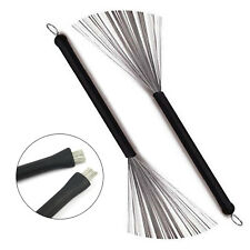 1 Pair New Of Rubber Handle Metal Wire Drum Throw Retractable Brushes Sticks