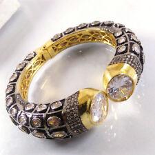 WHITE CUBIC ZIRCONIA Gemstone Gold Plated Indian Designer Cuff Bangle Bracelet