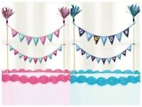 Christening Cake Picks Topper Bunting Flag Banner Pink Blue Decorations Boy Girl