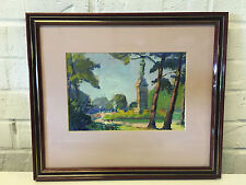 Possibly Vintage Oil Painting 2 Figures on Bench in Landscape w/ Statue Monument