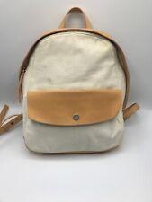 Skagen Denmark Tan Leather Beige Canvas Cloth Backpack