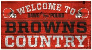 NFL Cleveland Browns Welcome to Country Wood Sign Holzschild Holz 61x33 Football