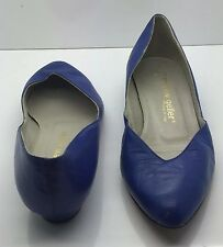 ANDREW GELLER Vtg 80's Cobalt Blue Leather Low Heel Ballet Flats 5.5B Italy!!!