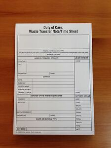 DUTY OF CARE / WASTE TRANSFER NOTES / TIME SHEET PAD (WM/052)