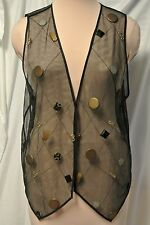 Art Wear Sheer Black Mesh Vest-Floating Geo. Lucite Jewels-Studio Editions-L/XL