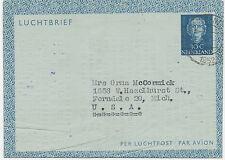 "2402 NL 1952 Queen Juliana 30 C lightblue Air Letter ""AMSTERDAM – FERNDALE, USA"""
