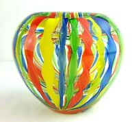 Murano Multi Color Blown Glass Latticino Ribbons Vase / Paperweight Vintage
