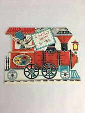 Vintage Die Cut Bunny Conductor Money Train Childs Birthday Card Dime Holder