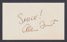 Allen Funt, American Television Host famous for Candid Camera, signed 3x5 card