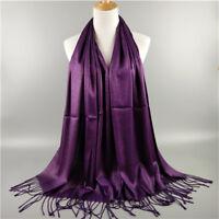 Womens Chiffon Hijab Scarf Soft Wrap Long Cashmere Pashmina Shawl Scarves Cape