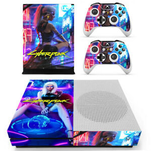 Xbox One S Console Skin Sticker Decal Cyberpunk 2077 + 2 Controller Skins