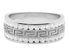 Mens 14K White Gold Real VS Diamond Greek Engagement Wedding Band Ring 1.0ct 8MM
