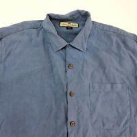 Tommy Bahama Button Up Shirt Men's Medium Short Sleeve Blue Casual 100% Silk