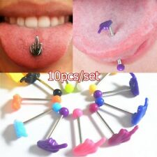 10Pcs Multicolor Tongue Tounge Nipple Ear Ring Bar Barbell Body Piercing Jewelry