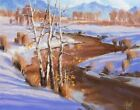TOM HAAS painting 'Winding Down' oil Colorado winter realism Aspens river snow