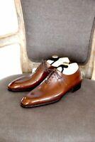 Handmade Mens Plain Toe Whole Cut Oxford, Men's Dress Leather Brown Formal Shoes