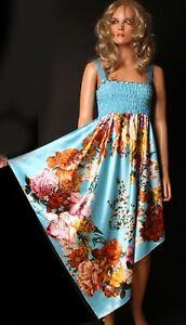 Kleid Sommerkleid L 40 blau asymmetrisch Tanzkleid Abendkleid