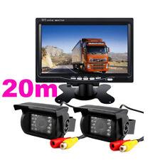 2x 18 IR Cámara De Marcha Atrás Trasera 12V/24V+ 7'' Monitor 20m Extensión Cable
