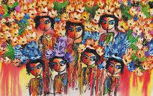 Hand painting Balinese Abstract Girls Flowers 257