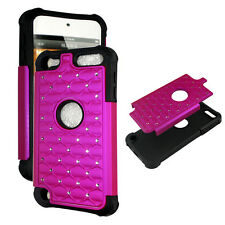 Hot Pink Hybrid Rhinestone silicon Apple iPod Touch 5th gen Cover Case