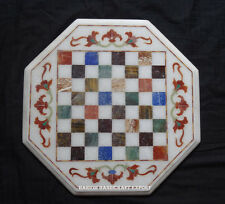 "15"" White Marble Chess Table Board Multi Inlay Marquetry Playing Room Decor"