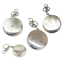 Pocket Stainless Steel Portable Mini Round Cigarette Ashtray W/ Keychain Keyring