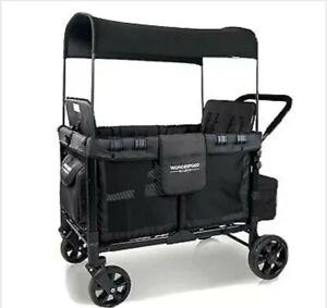 Wonderfold Wagon W4 in Black 2 / 3 / 4 seater  pram double pram +Raincover