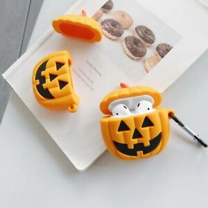 Halloween Pumpkin AirPods Case for Airpod 1 2 + Keychain Clip