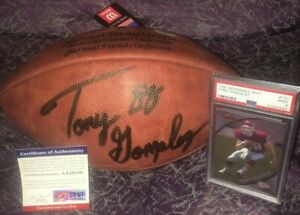 2019 HOF TONY GONZALEZ Signed Official Wilson Football & PSA 1997 Rookie Card 9