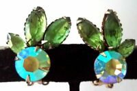 Vintage green AB rhinestone clip earrings unsigned Beau Jewels