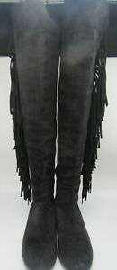 Stuart Weitzman black suede with fringes over the knee boot size 7.5