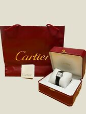 Cartier Tank Silver 90's White sphere/Blue numbers-Women-Crocodile Leather Stunt