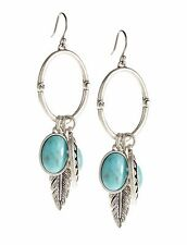 NEW-LUCKY BRAND SILVER TONE,TURQUOISE BLUE STONE+FEATHER CHARMS HOOP EARRINGS