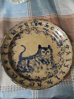 Becky Mummert Bluestone Glazed Pottery Dinner Plate 7 1/2 In cat animal pattern