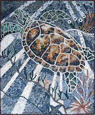 "32""x 28"" Handmade Turtile  Marine Life  Decor Marble Mosaic Mural Art Tile Stone"