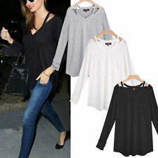 V Neck No Pattern Cotton Tops & Shirts Plus Size for Women