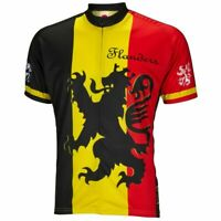 "Lion of Flanders crest Short sleeve 19"" zip men's cycling jersey"