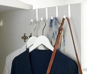 Over Door Hooks, set of 4, coat hook, steel, put over almost any door, white