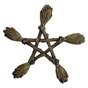 Nemesis Now BROOMSTICK PENTAGRAM Witch Wicca Pagan Hanging Wall Plaque Sign 19cm