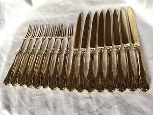 Dessert Forks & Knives, 8+8, Gold Plated, c1910