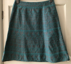 MONSOON GREEN EMBROIDERED KNEE LENGTH A LINE SKIRT - SIZE 12