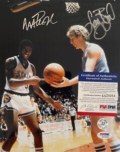 Magic Johnson Larry Bird Signed College 8x10 PSA 4A29364