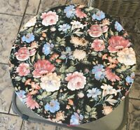 "Beautiful Black W Blue Pink Flowers Pattern Hat Box, Storage Box 14"" X 7"""