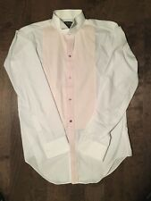 Arrow shirt tuxedo wing collar Mens 15.5 38/39 French Cuff Pleats White Pink.c28