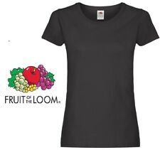 Ladies Womens Fruit of the Loom Plain Black Cotton Fitted T-Shirts Tee Shirt