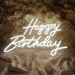 CALCA Happy Birthday Warm White Integrative Neon Sign for Any Age