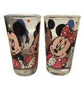 "2 The Walt Disney Company 5 1/2"" Mickey Mouse Minnie Donald Duck Glass Tumbler"