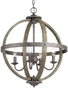 Chandelier 19.88 in. 4-Light Single Tier Artisan Iron Orb with Elm Wood Accents